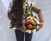 Handmade ooak African doll holding a harvest bowl