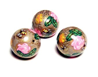 Handmade Beads Polymer Clay 3 Crazed Gold Leaf DIY Art Nouveau Victorian Taupe Pink Rose Bee Leaf Canework Bead Supplies 15 mm