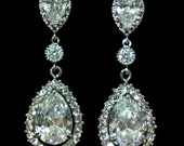 Silver Bridal Earrings, Pave Cubic Zirconia Earrings, Cz Teardrop Jewelry, SONATA