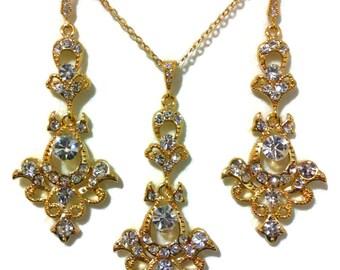 Gold Bridal Jewelry Set, Victorian Wedding, Damask Earrings, Dangle Necklace, Swarovski Crystal, MATAHARI