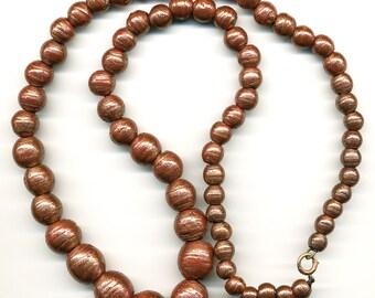"Vintage Venetian Beads 24"" Graduated Necklace of Rustic Sparkling Aventurina Glass"