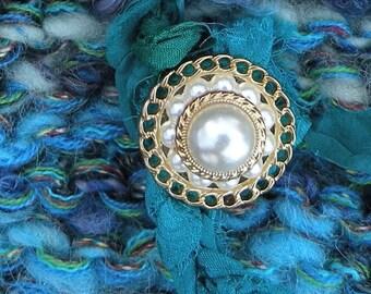 Shoulder bag, Blue Handbag purse, fiber art hand spun wool Bohemian bag, teal green blue pearl buttons rustic faery lined i920