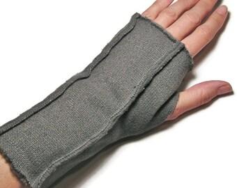 Sweater Fleece Fingerless Gloves for LADIES ... Soft Gray (Insides Out)