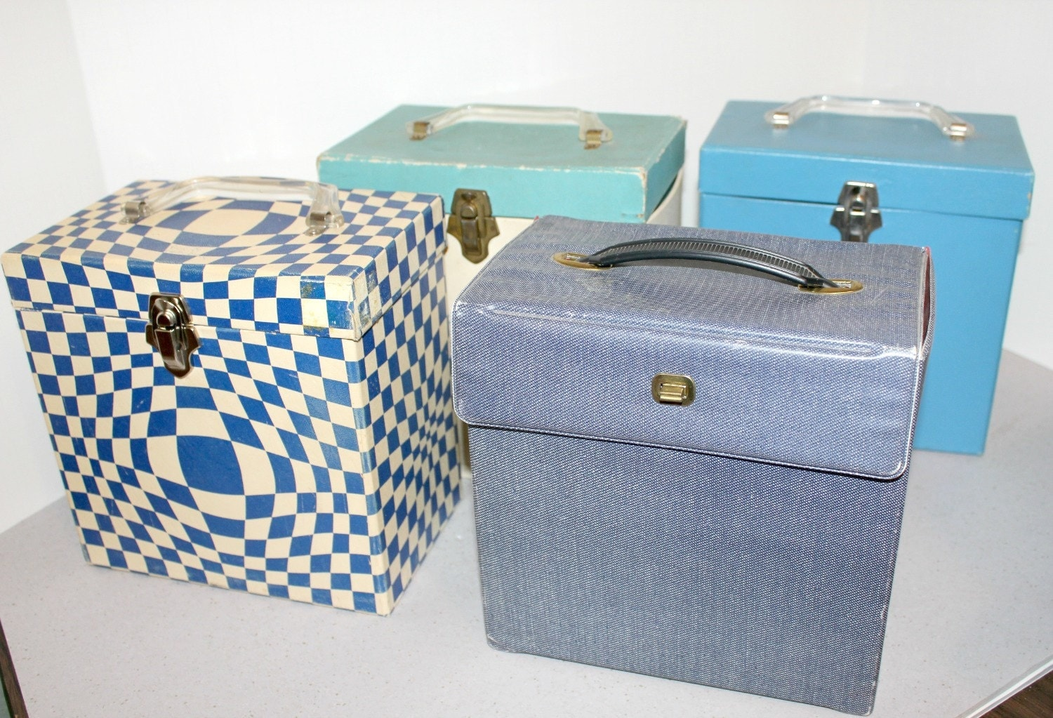 4 Record Storage Boxes Box 45 Rpm Jukebox Size Carrying Cases