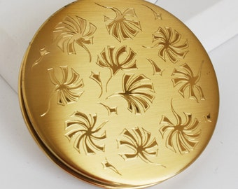 Vintage Compact  -  Pilcher etched flowers with fabric pouch