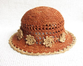 Crochet Sun Hat For Toddler Girl - Genuine Natural Madagascar Raffia / Straw Sun Hat