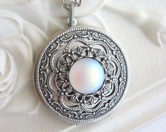 SALE Moon, Locket, Silver Locket Necklace, Silver Moon Locket, Moonstone Locket, Moon Jewelry, Enchanted Moon Locket, Moonstone Jewelry