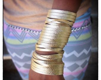 Gold Leather Slit Cuff
