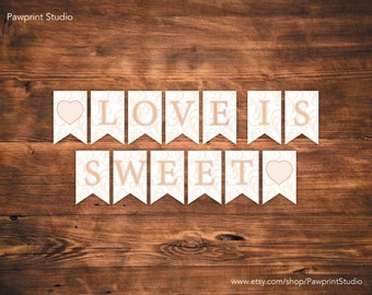 INSTANT PRINTABLE Bunting: Coral Swirls Love Is Sweet Bunting Banner