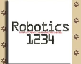 Robotics Embroidery Font Includes 6 Sizes