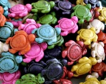 Sea Turtle Beads Dyed Howlite 20