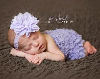 Lavender baby headband Flower { Laila } chiffon Headband spring, birthday newborn baby photography prop