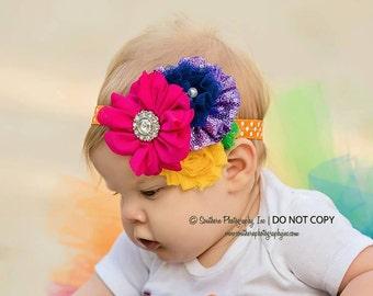 Rainbow Birthday headband { Pop Star Rainbow } First Birthday, cake smash circus, summer bright funky photography prop