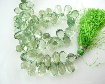 Prasiolite gemstone. Faceted Teardrop Briolettes, 8mm.  Semi Precious Gemstone. Packet of 2. (7pra7).