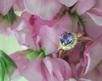 Natural Purple Sapphire (Sri Lanka) in Diamond Halo Lotus Ring, Ready to Ship (OOAK Engagement Setting or Right Hand Ring)
