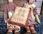 Primitive Raggedy Ann and Andy with Pillow