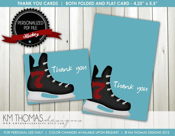 printable hockey thank you card custom hockey thank you card ice hockey ice skate flat. Black Bedroom Furniture Sets. Home Design Ideas