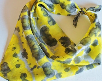 Hand Painted Silk Square Scarf - Hand Dyed Bandana Yellow Lemon Black White Gray Grey Bumblebee Bee