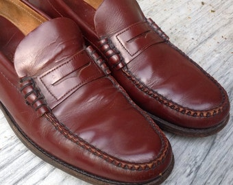 Size 13 / SALE Hand Sewn Penny LOAFERS Leather Soles mens shoes