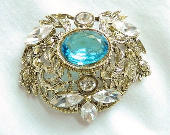 Vintage Blue and Clear Glass Rhinestones Brooch