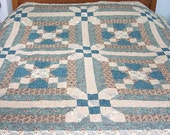 "Teal and Brown Quilt, 67""x67"", Square Quilt, fits top of Queen Size, teals, browns, tans, machine quilted"