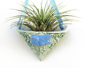 Blue Bird of Happiness Decor Small Hanging Air Plant Vase Ceramic Ornament Pocket Pouch Decor for Succulents in Home or Office