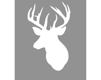 Deer Head Silhouette Wall Art Kids Wall Art Nursery Decor Baby Boy - 11x14 Print - CHOOSE YOUR COLORS - Soft Yellow, Gray and More