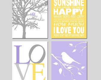 Lavender Purple Yellow Gray Nursery Art Quad - You Are My Sunshine, LOVE, Birds in a Tree, Bird on a Branch - Set of Four 11x14 Prints