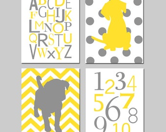Yellow Gray Nursery Art - Modern Alphabet, Polka Dot Puppy Dog, Numbers, Chevron Puppy Dog - Set of Four 8x10 Prints - CHOOSE YOUR COLORS