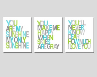 You Are My Sunshine Nursery Art Trio - Baby Boy Nursery - Set of Three 11x14 Prints - Shown in Aqua, Apple Lime Green, Gray Medley