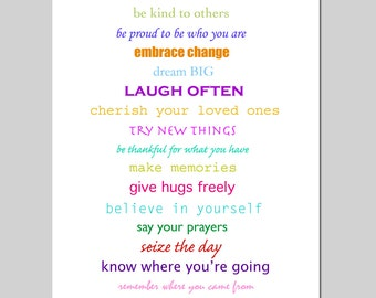Inspiration - 8x10 Print Featuring Inspirational Quotes and Sayings - Colorful, Happy, Bright - CHOOSE YOUR COLORS