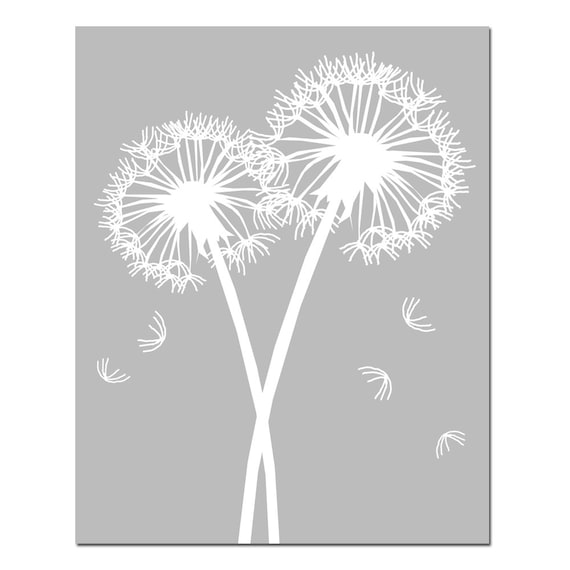 Dandelions Series I - 11x14 Floral Dandelion Print - Choose Your Colors - Shown in Pale Gray, White and More