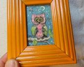 Owl painting, Original  Bird art, Owl on branch  Mini Painting, repurposed art,  Vintage Frame, Orange frame