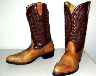 Two tone Brown Cowboy Boots size 10.5 D or womens size 12 - distressed fashion