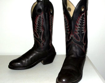 Black Leather  Cowboy Boots size 8 M  or womens size 9 to 9.5 - Durango brand