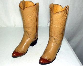 Vintage Tony Lama Black Label Cowboy Boots Original Box Size 4 A Narrow Width Old West