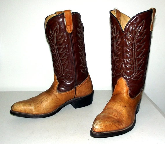 two tone brown cowboy boots size 10 5 d or womens size 12