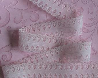 """Semi Sheer Pink Lace Ribbon Trim 1 1/2"""" x 5 yards Pretty Unusual"""