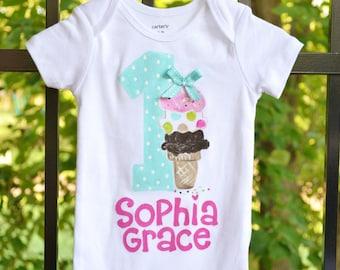 personalized ice cream birthday bodysuit or tee, ice cream birthday tee, ice cream party birthday, 1st birthday and up, ice cream cone party