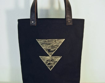 Black Canvas Tote with Gold Traingles - Leather Base and Handles