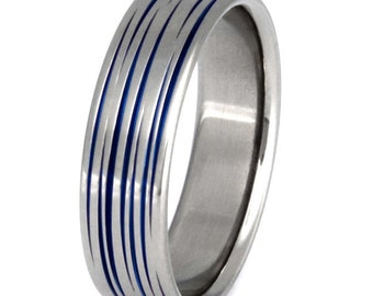 Blue Titanium Wedding Band - Thin Blue Line - Tiger Stripe Ring -  b19