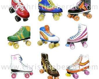 Retro Roller Boots - archival print