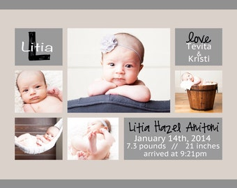 Birth Announcement - Digital - 5 Photo Collage