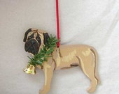 Hand-Painted ENGLISH MASTIFF FAWN Wood Christmas Ornament Artist Original....Nicely Painted