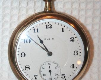 Nice 1918 ELGIN Open Face Pocket Watch GF Illinois Case SZ 16