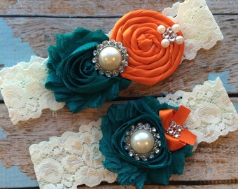 TEAL/ ORANGE  wedding garter set / bridal  garter/  lace garter / toss garter included /  wedding garter / vintage inspired