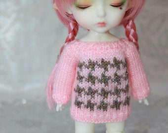 Clearence SALE- Lati Yellow-Pukifee - Tiny HOUNDSTOOTH Sweater in Baby Pink-Sparkley Brown Limited