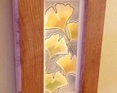 Yellow Gingkps Original Watercolor Painting in Custom Oak Craftsman Frame