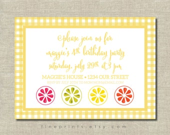 citrus and yellow gingham party invitation