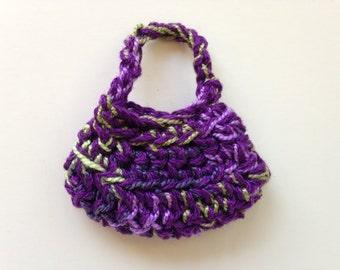 Handmade Barbie Clothes Purse Handbag Crochet Purple Variegated (S1820)